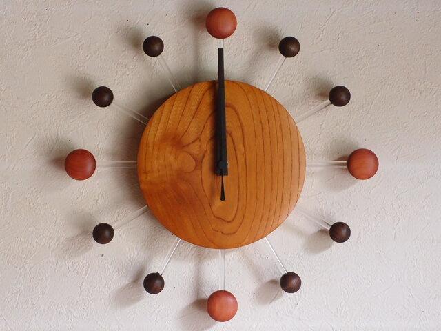 無垢の木の電波掛け時計 けやき 0078の画像1枚目