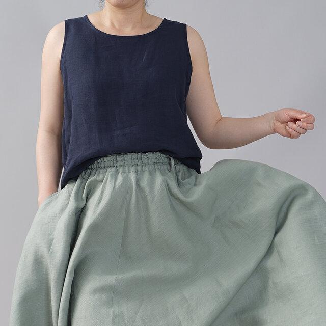 【wafu】薄地 雅亜麻 リネン タンク タンクトップ アンダーウエアにも 肌触りの良いリネン 丸首/紺青 t009b-kju1の画像1枚目