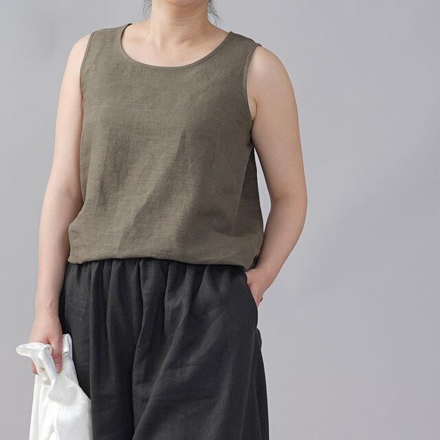 【wafu】薄地 雅亜麻 リネン タンク タンクトップ アンダーウエアにも 肌触りの良いリネン 丸首/鶯茶 t009b-ugc1の画像1枚目