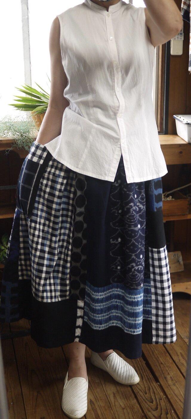B様専用 久留米絣反物からギャザースカートの画像1枚目