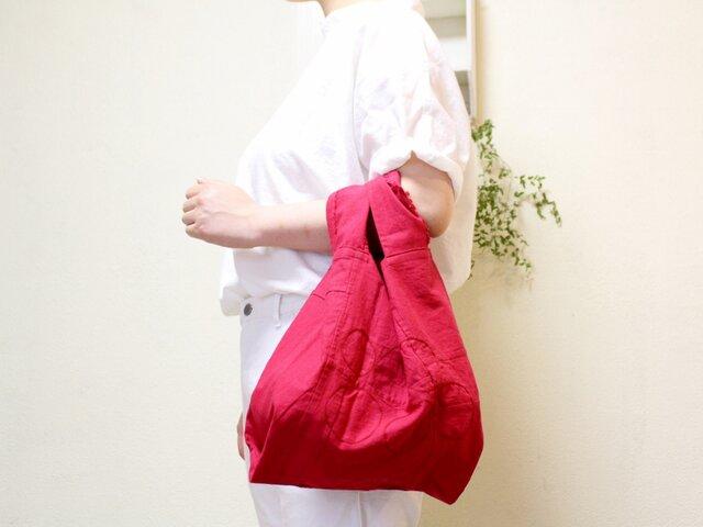 子ポジャまる / つぶつぶどう ポジャギ+まる刺繍 コットンリネンレジ袋型エコバッグの画像1枚目