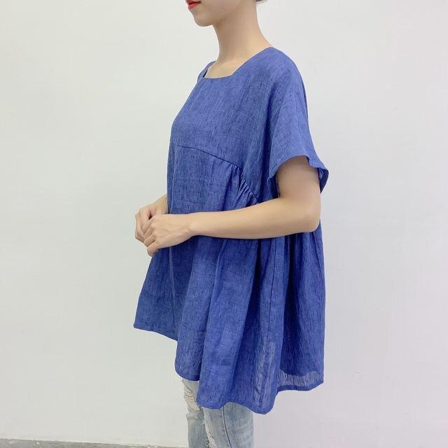 en-en・リネン身幅たっぷりスクエアネック・袖短めサイドギャザープルオーバー・青の画像1枚目