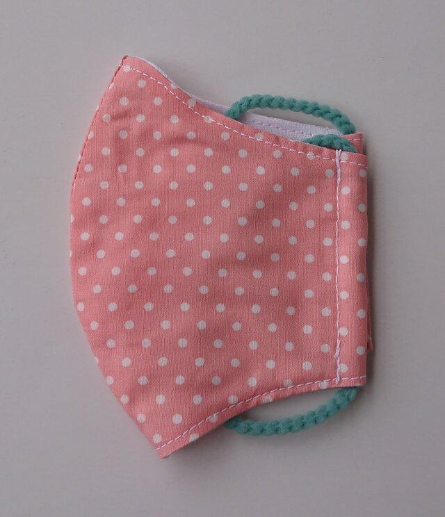 薄手マスク子供用(低学年)水玉ピンクの画像1枚目