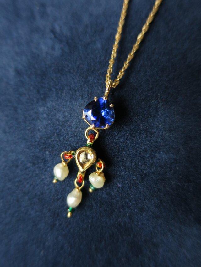 K18 Kyanite Kundan Meena Necklaceの画像1枚目