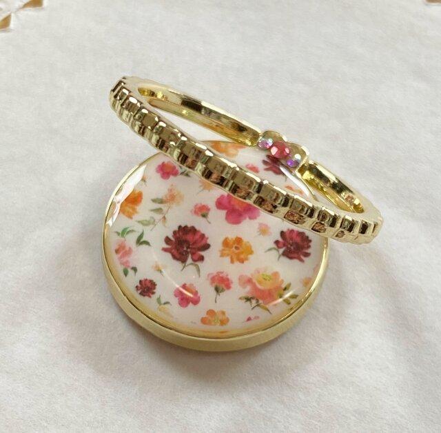 floral patternスマホリング(ゴールド)の画像1枚目