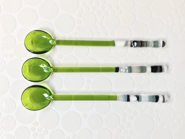 ガラスのティースプーン(①グリーン)の画像1枚目