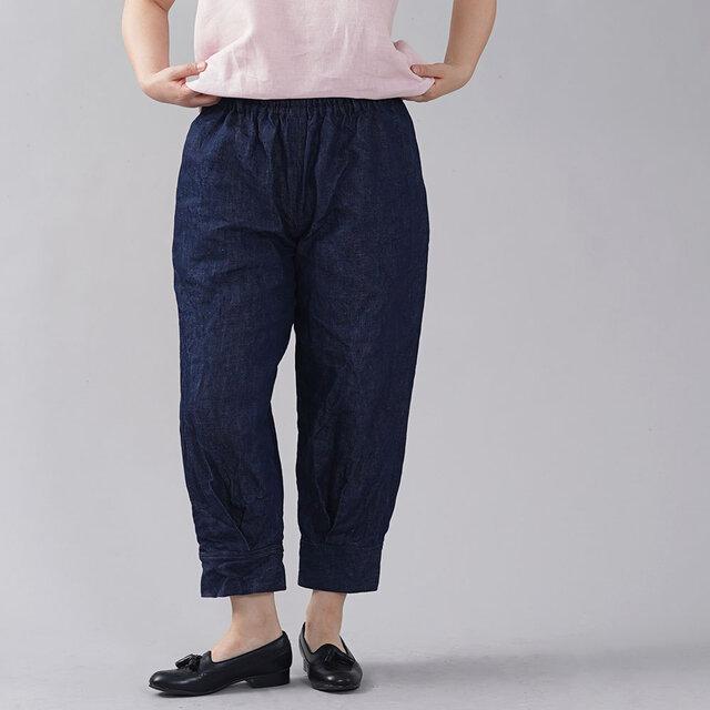 【wafu】厚地 リネンデニムパンツ 男女兼用 育てていくデニム 色落ちします 裾タックパンツ/インディゴ b013h-ind3の画像1枚目