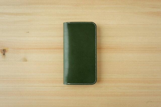 牛革 iPhone 11 カバー  ヌメ革  レザーケース  手帳型  グリーンカラーの画像1枚目