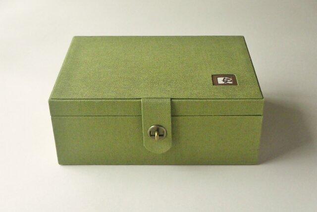 【K様オーダー品】リネン裁縫箱 「キャットスマイル」の画像1枚目