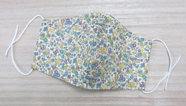 夏用 立体マスク 大人用大きめ ◆リバティ風 花柄コットン&ダブルガーゼ 3層◆ マスク用ゴム使用 ワイドサイズの画像1枚目