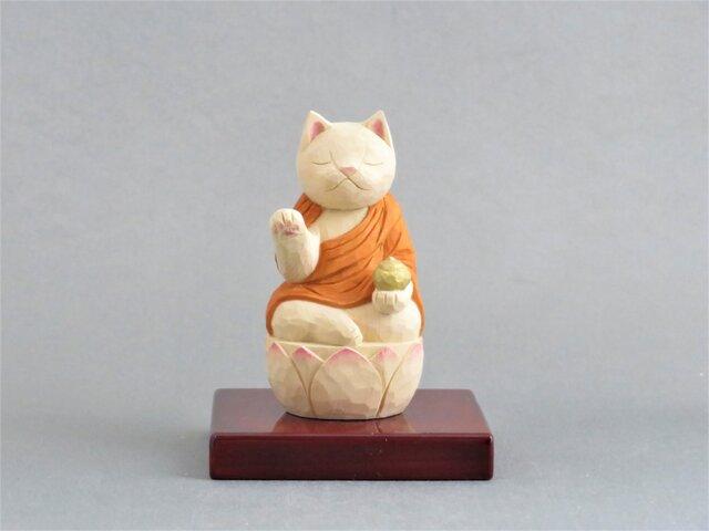 木彫り 薬師猫 猫仏2008の画像1枚目