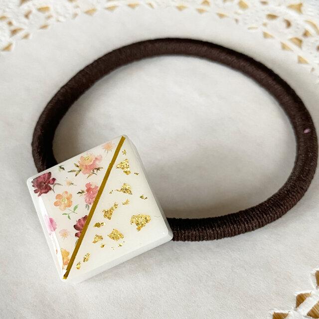 再販!floral patternラメヘアゴムの画像1枚目