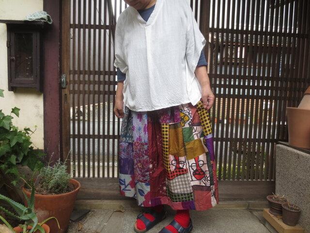 着物リメイク☆カラフルポップな銘仙で大人可愛いおしゃれスカート79㎝丈の画像1枚目
