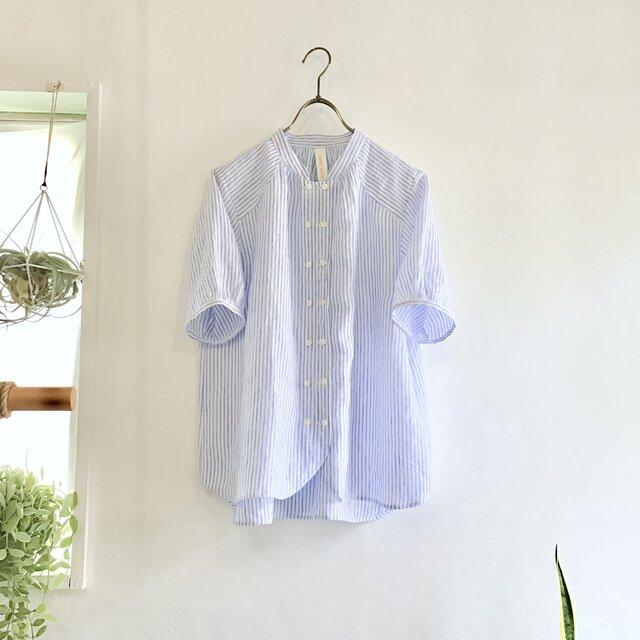 cook P blouse  (blue stripe)の画像1枚目