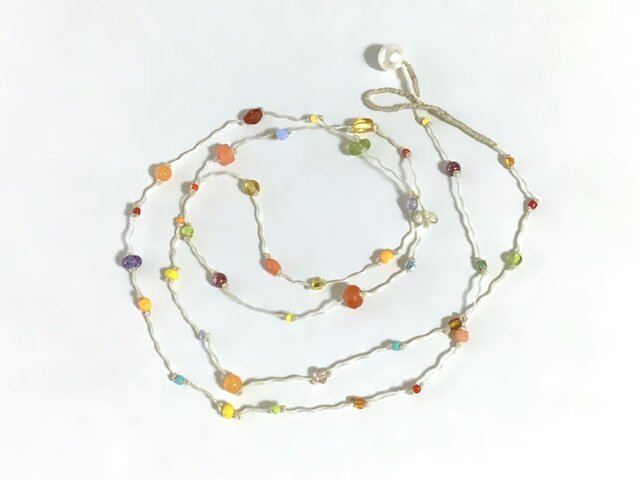 ふきよせ ネックレス[オレンジ]/ワックスコード, ガラスビーズ, 天然石の画像1枚目