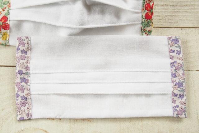 夏用・薄型 プリーツマスク脇柄 リバティ 花柄★生地は晒2枚重ねの画像1枚目