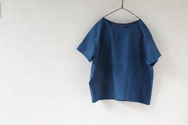 潔いシャツ・変わり織り木綿の本藍染めの画像1枚目