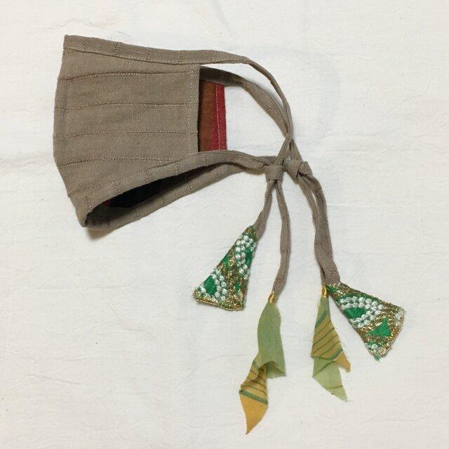 しましまリネンのマスク(インドのリボンテープ)の画像1枚目