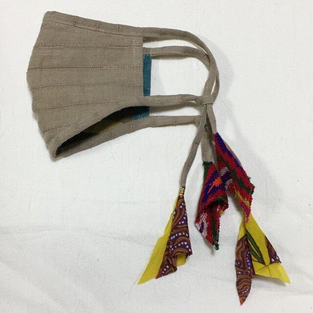 しましまリネンのマスク(ペルーのリボンテープ)の画像1枚目