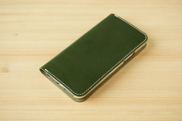 牛革 iPhone 11 Pro カバー  ヌメ革  レザーケース  手帳型  グリーンカラーの画像1枚目