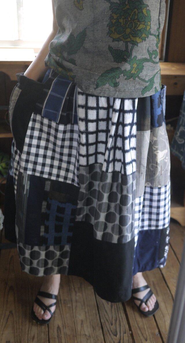 Y様専用久留米絣反物からギャザースカートの画像1枚目