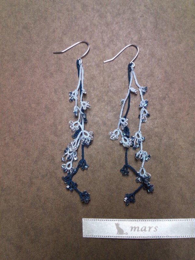 絹糸の枝のピアス blueの画像1枚目