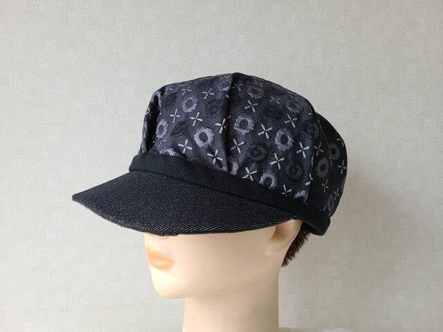 魅せる帽子☆ポコポコ織模様が可愛い♪リバーシブルキャスケット~モノトーンの画像1枚目