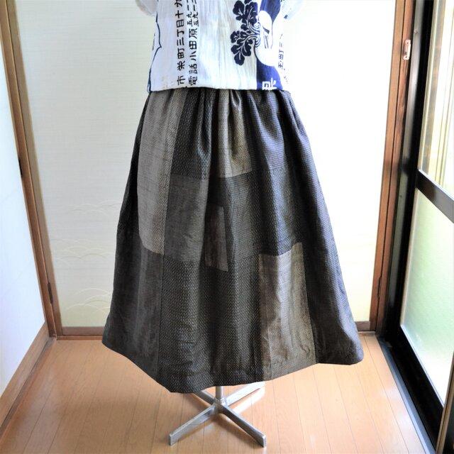 手拭い✕大島リバーシブルギャザースカート J-37の画像1枚目