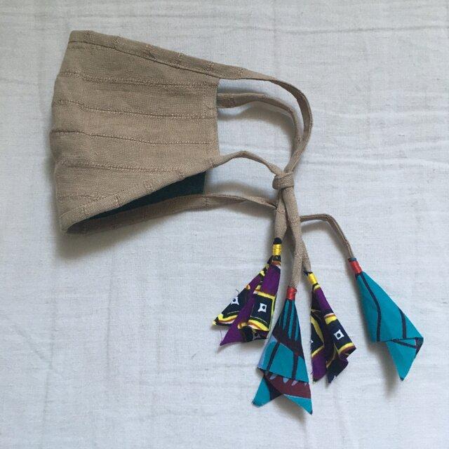 しましまリネンのマスク(青系アフリカンプリント)の画像1枚目