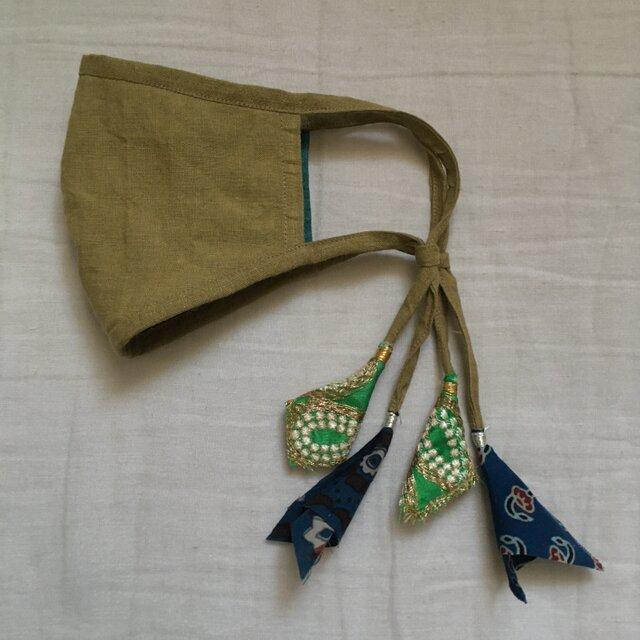 オリーブ色のリネンマスク(インドのリボン)の画像1枚目
