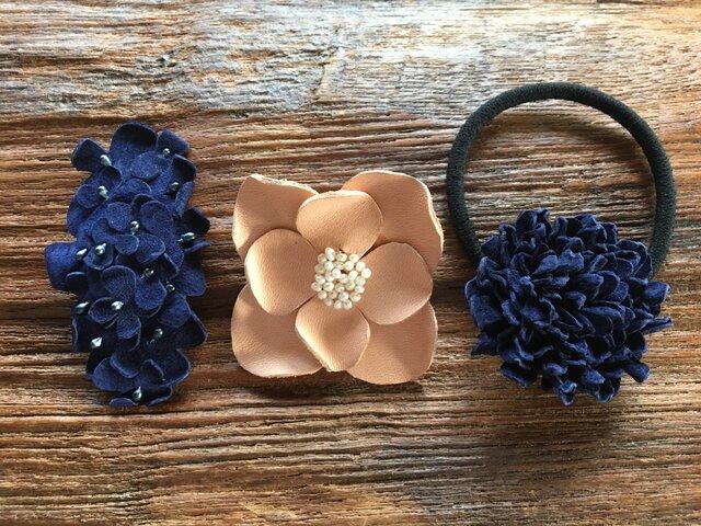 【 I様おまとめ品 】革花のへアゴム・スリーピン・ブローチの画像1枚目