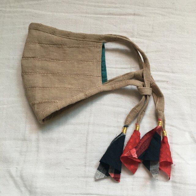 しましまリネンのマスク(インドの布)の画像1枚目