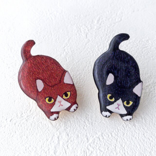 子猫のブローチ(ハチワレ茶)の画像1枚目