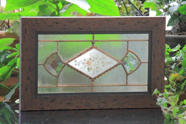 ステンドグラス 昭和初期ガラス 希少 薔薇の葉ガラス【展示品】の画像1枚目