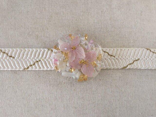 紫陽花を樹脂に閉じ込めた帯留め(ピンク)の画像1枚目