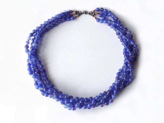 【受注制作】青い4連ネックレス[留め具を磁石式に変更]/アクリルビーズの画像1枚目