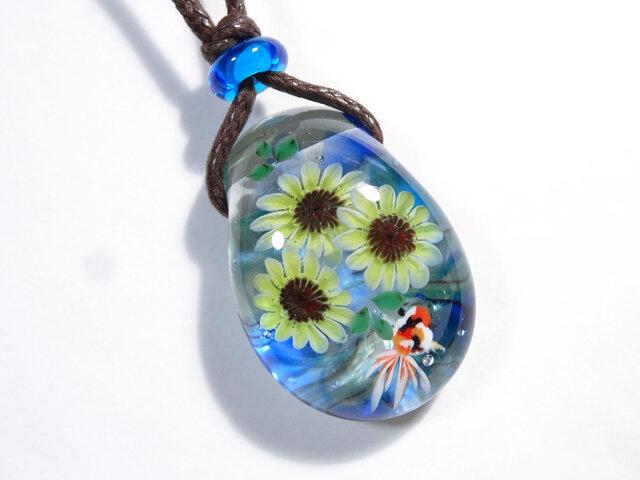 向日葵と金魚のとんぼ玉ガラスペンダントの画像1枚目