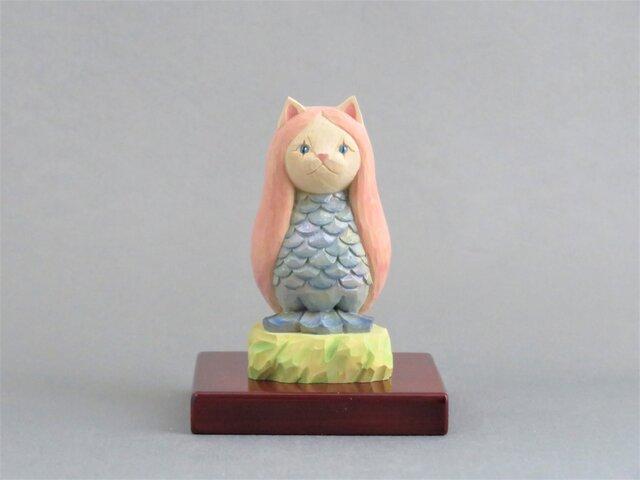 木彫り アマビエ猫 猫仏2009の画像1枚目