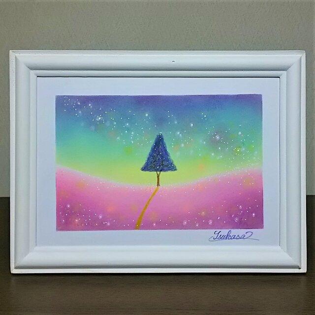 パステルアート 夜の光と希望の木の画像1枚目