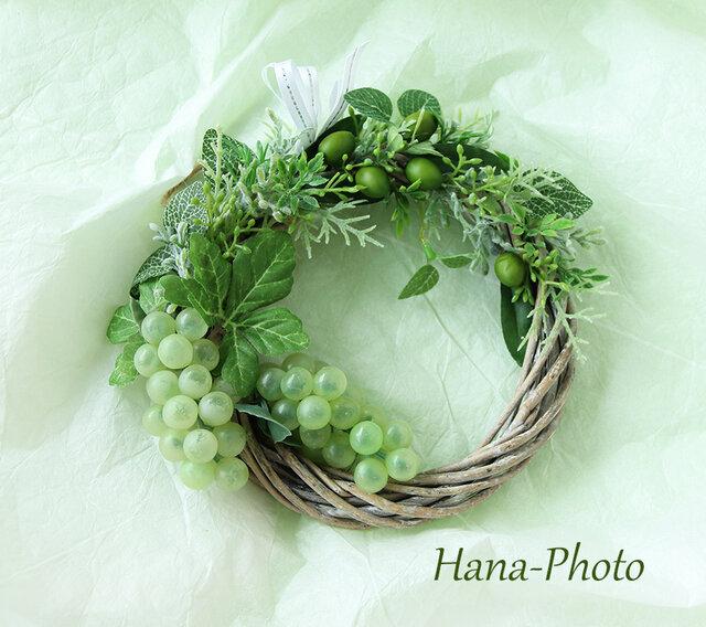 Sold グリーンオリーブとブドウのフレッシュリース  リース台:15㎝  (253)の画像1枚目