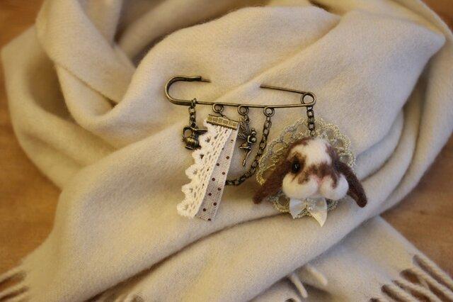羊毛うさぎサン☆ストールピン ホーランドロップの画像1枚目