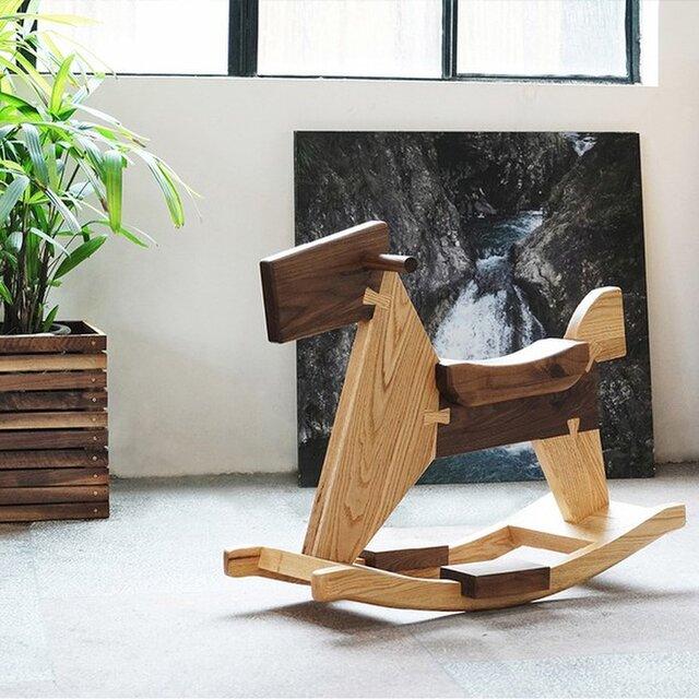 受注生産 職人手作り ロッキングチェア スツール お洒落 遊具 椅子 無垢材 家具 天然木 ウォールナット LR2018の画像1枚目