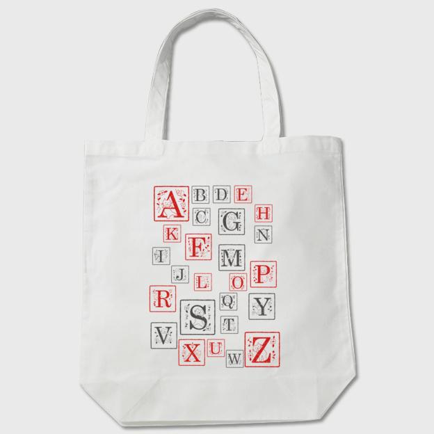 受注制作 ネコさんアルファベット [RED&BACK] トートバッグの画像1枚目