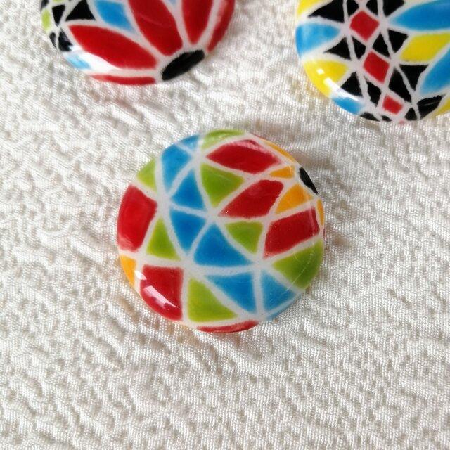 陶器の日本らしい糸手まり 赤と黄緑と水色 スペインタイル 桐箱入の画像1枚目