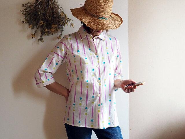 着心地が良いのにきちんと感もある夏のシャツブラウス  ビタミンカラーにポップな柄が可愛い!-涼しい綿の浴衣から一点ものの画像1枚目