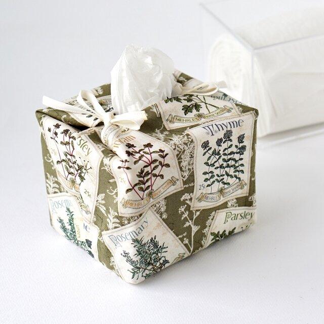 リバーシブルキューブティッシュ・容器付き(USA生地ハーブ柄×緑チェック柄)の画像1枚目