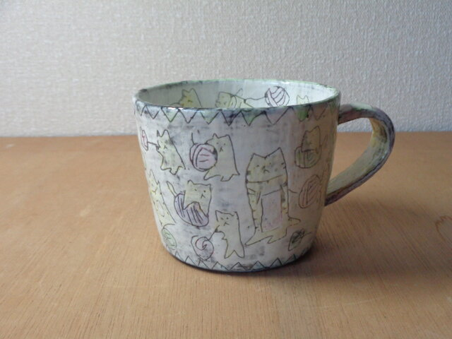 マグカップ 編み物ネコの画像1枚目