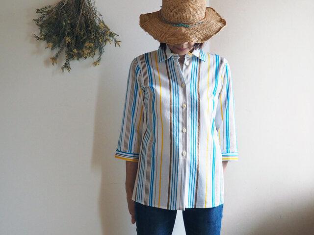 着心地が良いのにきちんと感もある夏のシャツブラウス  ブルーを効かせたストライプがクール!-涼しい綿麻の浴衣から一点ものの画像1枚目