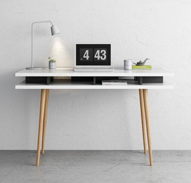 オーダー商品 職人手づくり 北欧モダン 白家具 パソコンデスク テーブル 収納 サイズオーダー可 天然木 家具の画像1枚目