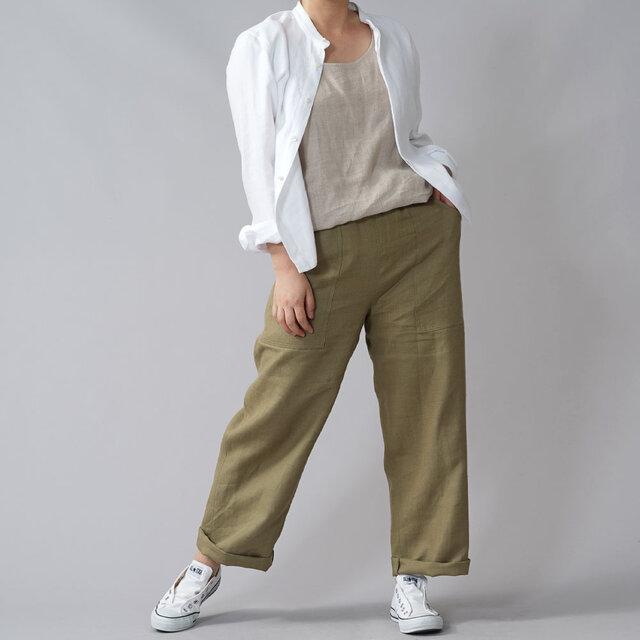 【wafu premium linen】丈短め 比翼仕立て スタンドカラーシャツ/ホワイト t030a-wht2の画像1枚目